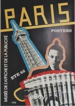 PARIS POSTERS ETE 82 Affiche originale entoilée RAZZIA 46x64cm (TOUR EIFFEL)
