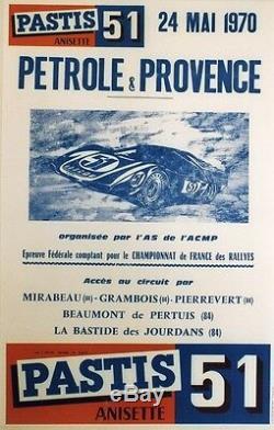 PASTIS 51/PETROLE & PROVENCE Affiche originale entoilée 24 MAI 70 42x62cm