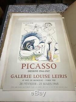 PICASSO Affiche Originale Poster Galerie Louise Leiris Paris 1968 Mourlot