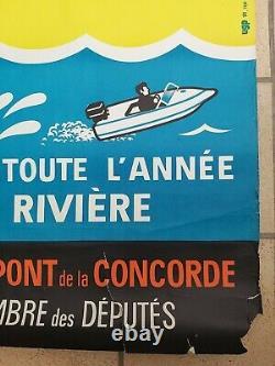 Paris piscine bains Deligny Affiche ancienne litho/original pool poster 1970's