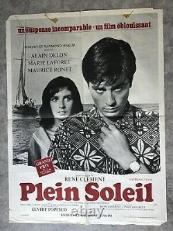 Plein Soleil Affiche Cinéma 1960 Original Movie Poster Alain Delon Marie Laforêt