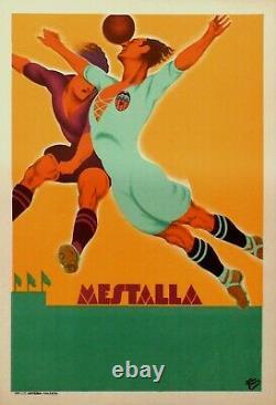 Poster Affiche Litho Originale Football pour le Mestalla stadium Valencia Soccer