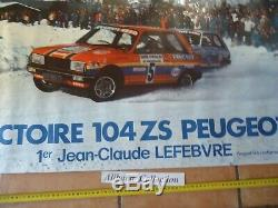 Poster Affiche Originale Peugeot 104 Zs 1977 Rallye Serre Chevalier Voiture Car