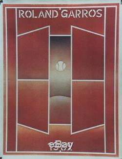 ROLAND GARROS 1982 Affiche originale entoilée FOLON 62x79cm