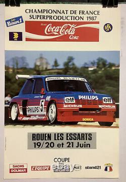 Rare Affiche Originale CHAMPIONNAT FRANCE SUPERPRODUCTION 1987 RENAULT 5 TURBO