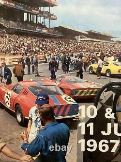 Rare Affiche Originale Course Auto 24HR DU MANS 1967 Race Poster Le Mans