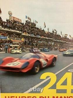 Rare Affiche Originale Course Auto 24HR DU MANS 1968 Race Poster Le Mans