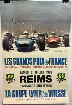 Rare Affiche Originale Course Auto GRAND PRIX DE FRANCE REIMS 1966 Race Poster