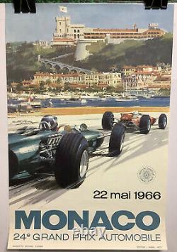 Rare Affiche Originale Course Auto Grand Prix De MONACO 1966 Race Poster
