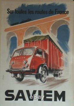 SAVIEM Affiche originale entoilée Litho J. L. MERCIER 1959 84x122cm