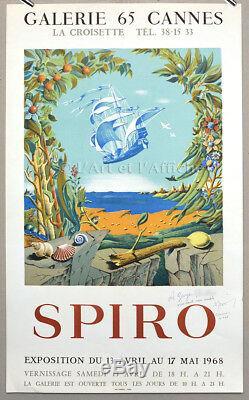 SPIRO 1968, expo Galerie 65 Affiche originale signée, signed Vintage Poster