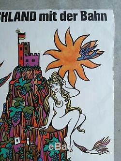 Ski pin up Deutschland mit Bahn, Affiches anciennes/original posters Plakate 70
