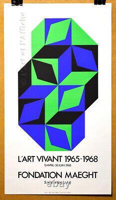 VASARELY, L'ART VIVANT 1965-1968, Affiche litho originale 1968 Art poster