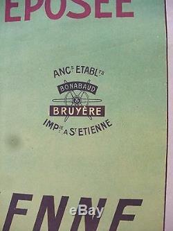 Vintage old original 1900 Absinthe epoch poster. Ancienne affiche publicitaire